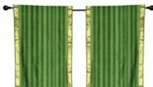 2 Boho Green Indian Sari Curtains Rod Pocket Window Panels Drapes