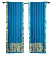 2 Boho Blue Indian Sari Curtains Rod Pocket Window Panels Drapes