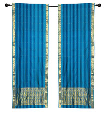 2 Boho Blue Indian Sari Curtains Rod Pocket Window Panels Drapes