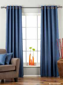 Blue Ring Top Matka Raw Silk Curtain / Drape / Panel - Piece