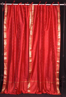 Fire Brick  Tie Top  Sheer Sari Curtain / Drape / Panel  - Pair