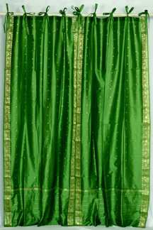 Forest Green  Tie Top  Sheer Sari Curtain / Drape / Panel  - Pair