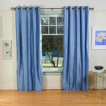 Light Blue Ring / Grommet Top  Velvet Curtain / Drape / Panel  - Piece