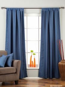 Blue Tab Top Matka Raw Silk Curtain / Drape / Panel - Piece