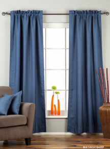 Blue Rod Pocket Matka Raw Silk Curtain / Drape / Panel - Piece
