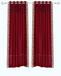 Maroon Hand Crafted Grommet Top Sheer Sari Curtain Panel -Piece