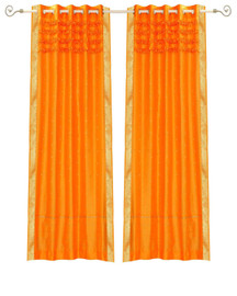 Pumpkin Hand Crafted Grommet Top Sheer Sari Curtain Panel -Piece