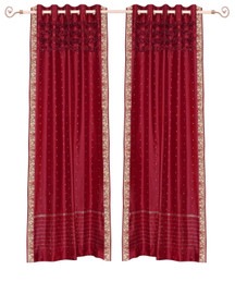 Fire brick Hand Crafted Grommet Top Sheer Sari Curtain Panel -Piece