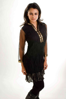 Black Crepe Crushed Kurti Tunic with Golden Neckline (India) - Large