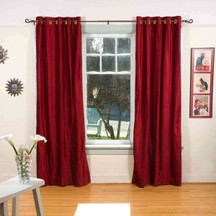 Burgundy Ring / Grommet Top  Velvet Curtain / Drape / Panel  - Piece