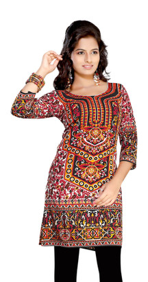 Red 3/4 sleeve Indian Printed  Kurti Tunic Women Kurta