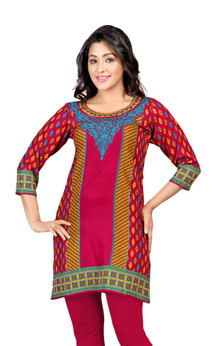 Pink 3/4 sleeve Indian Printed  Kurti Tunic Women Kurta