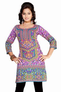 Lavender 3/4 sleeve Indian Printed  Kurti Tunic Women Kurta