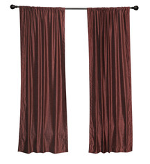 Luxury  Wine Velvet Rod Pocket Curtain Panels Drapes with matching tieback