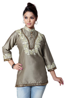 Art Silk 3/4 sleeves Kurti/Tunic with embroidery work