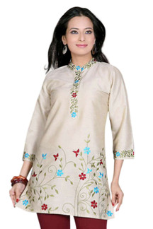 Golden 3/4 sleeves Kurti/Tunic with designer embroidery
