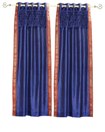 Blue Grommet Top Sheer Sari Curtain Panel with beaded hand design -Piece