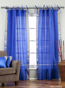 Enchanting Blue  Tie Top  Sheer Sari Curtain / Drape / Panel  - Pair