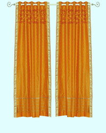 Mustard Hand Crafted Grommet Top Sheer Sari Curtain Panel -Piece