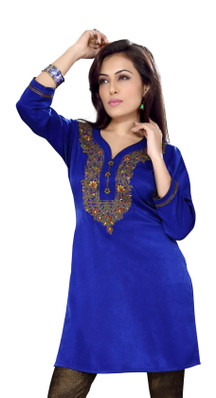 Royal Blue Velvet Indian Kurti / Kurta / Tunic with embroidery