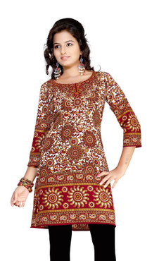 Maroon 3/4 sleeve Indian Printed  Kurti Tunic Women Kurta