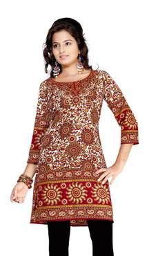 Maroon 3/4 sleeve Indian Printed  Kurti Tunic Women Kurta