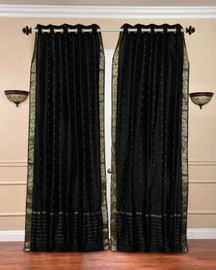 Black Ring Top  Sheer Sari Curtain / Drape / Panel  - Piece