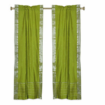 Olive Green Rod Pocket  Sheer Sari Curtains w/ Silver Border-Pair