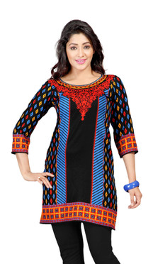 Black 3/4 sleeve Indian Printed  Kurti Tunic Women Kurta