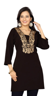 Black crepe  kurti / Tunic with  golden embroidery