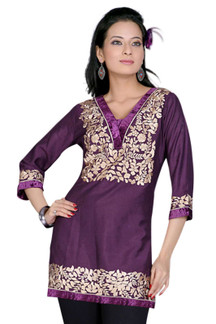 Purple 3/4 sleeves Kurti/Tunic with designer embroidery