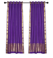 2 Boho Purple Indian Sari Curtains Ring Top Window Panels Drapes