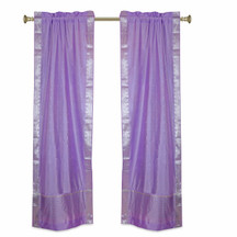 Lavender Rod Pocket  Sheer Sari Curtains w/ Silver Border-Pair