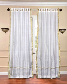 White with Golden Trim Ring Top  Sheer Sari Curtain / Drape / Panel  - Piece
