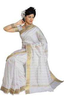 White Art Silk Saree Sari fabric India Golden Border