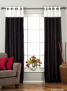 Signature Black and White ring top velvet Curtain Panel - Piece