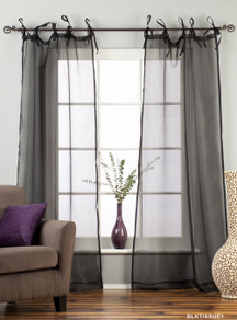 "Black Tie Top Sheer Tissue Curtain / Drape / Panel - 84"" - Piece"