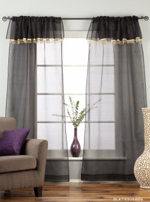 Black Rod Pocket w/ attached Beaded Valance Sheer Tissue Curtains - Piece