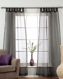"Black Tab Top Sheer Tissue Curtain / Drape / Panel - 84"" - Piece"