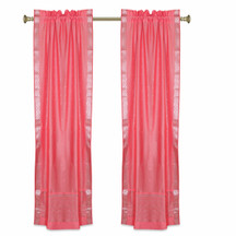 Pink Rod Pocket  Sheer Sari Curtains w/ Silver Border-Pair