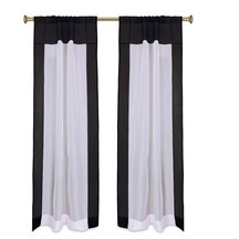 "White with Black Rod Pocket Sheer Tissue Curtain / Drape / Panel-84""-Piece"