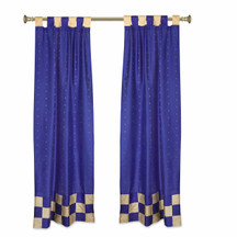 2 Eclectic Blue Indian Sari Curtains Tab Top Curtain drapes