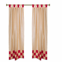 2 Eclectic Gold Indian Sari Curtains Tab Top Curtain drapes