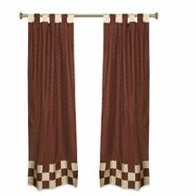 2 Eclectic Brown Indian Sari Curtains Tab Top Curtain drapes