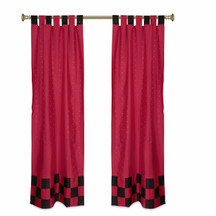 2 Eclectic Red Indian Sari Curtains Tab Top Curtain drapes