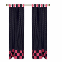 2 Eclectic Black Indian Sari Curtains Tab Top Curtain drapes