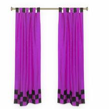 2 Eclectic Lavender Indian Sari Curtains Tab Top Curtain drapes