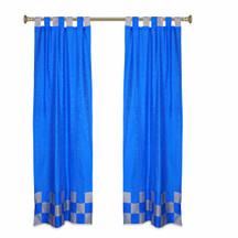 2 Eclectic Coral Indian Sari Curtains Tab Top Curtain drapes