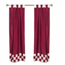 2 Eclectic Maroon Indian Sari Curtains Tab Top Curtain drapes