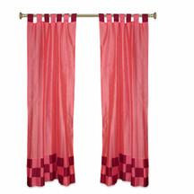 2 Eclectic Peach Indian Check Sari Curtains Tab Top drapes